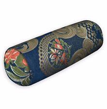 We504g Blue Damask Rose Chenille Throw Bolster Pillow Case Yoga Neck Roll Cover