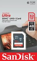 SanDisk 32Go 48Mo/s Ultra Class 10 UHS-I SD Full HD Video SDHC Carte mémoire