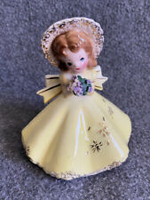 Hard to Find Josef Originals Doll Girl in Yellow Dress w 00006000 / Bouquet Vgc