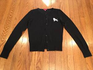 JJ Basics Pink Poodle Black Sweater Large