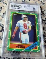 STEVE YOUNG 1986 Topps Rookie Card RC GEM MINT PRISTINE 10 HOF 49ers HOT $$$