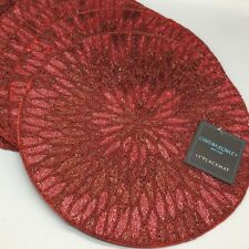 "x4 Cynthia Rowley Beaded Placemat Set 15"" Deep Red Christmas Poinsettia Holiday"