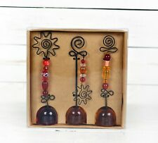 Pier One Imports Photo or Note Holder Set Of 3 Wire-Beaded glass Amber base NIB