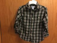 Boys The Children's Place Green Red Plaid Long Sleeve Button Down Shirt Size 4/5