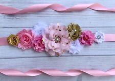 Pink,Gold,and White Maternity Sash Girl ,Baby Showers Belt /Flower Girl Sash