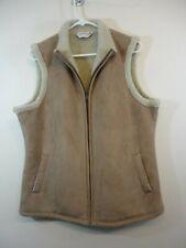 Orvis Womens Vest Sz Large Full Zip Fleece Lined Faux Suede Buckskin Color