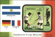 Nicaragua block171 (complete issue) used 1986 Football-WM ´86,