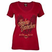 Harley-Davidson® HD Womens Sturgis Winged Rider Scarlet Red Short Sleeve Shirt