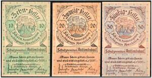 AUSTRIA'S MOST VIRULENTLY ANTISEMITIC CURRENCY! COMPLETE 3-NOTE 1920 SET! READ!!