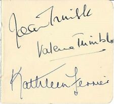 Tragic, Legendary Opera Contralto KATHLEEN FERRIER Very Rare Signed Album Page