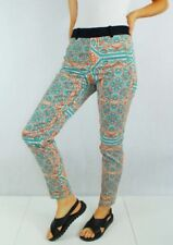 ZARA Psychedelic Blue & Orange Patterned Tapered Chino Trousers - XS UK 8/10