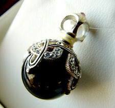 SALE !  LOVELY STERLING SILVER 925 GENUINE ONYX RUSSIAN EGG PENDANT WITH ENAMEL