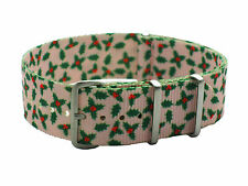 HNS ZULUPATH 22mm Green Flower Graphic Nylon Mod G10 Watch Strap Brushed Buckle