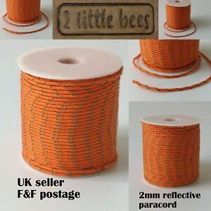 2mm Orange Reflective Paracord Luminous Strong Rope String Camping Lanyard