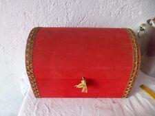ancienne boite bois et velours rouge rangement coffre deco vintage