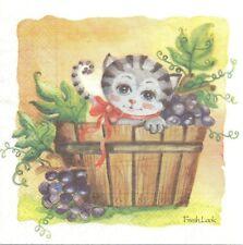 2 Serviettes en papier Le Chat dans la bassine Raisin Paper Napkins The Grapes