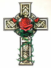 CELTIC GRAVE STONE CROSS TEMPORARY TATTOO  1 X SHEET  TY0233  Made in england