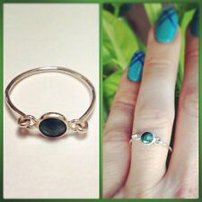 Tiny May Birthstone Emerald Gemstone Sterling Silver Ring.