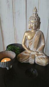 HOME KONTOR Buddha Skulptur Budda Thai Deko Figur creme gold 23x13 Thailand Neu