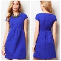 HD in Paris Anthropologie Empress Dress Size 0 Royal Blue Embossed Cap Sleeve