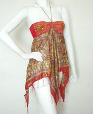 L80 Red Hippie Gypsy Embroidered Lurex Women Club Shimmering Blouse Top - S & M