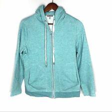 Talbots blue green full zip hooded sweatshirt petite pockets cozy medium petite