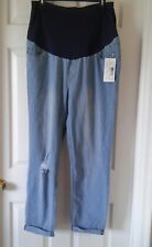 NWT Light Wash Cuffed Maternity Jeans with Hole in Knee Size XL