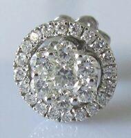 Secondhand single 18ct white gold multi diamond halo jacket screw back earring