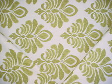 1+Y ROBERT ALLEN MOSS GREEN / WHITE COTTON FLORAL DRAPERY UPHOLSTERY FABRIC