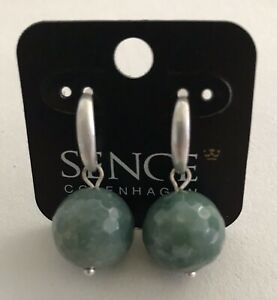 SENCE Copenhagen Indian Agate Faceted Ball & Silver Plated Earrings