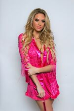 Hot Pink Lace Robe with Fringe Detail and Satin Belt Valentine's Lingerie 67031