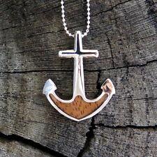 Hawaii Jewelry Koa Wood Anchor Rhodium Silver Plated Brass Pendant BRP1116