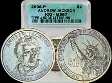 2008-P Andrew Jackson Presidential Dollar ICG MS67 Baby Blue/Gold Toned