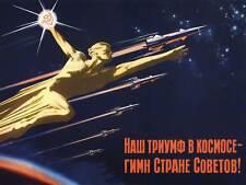 PROPAGANDA USSR COMMUNISM SPACE ROCKET TRIUMPH LARGE POSTER ART PRINT BB2757A