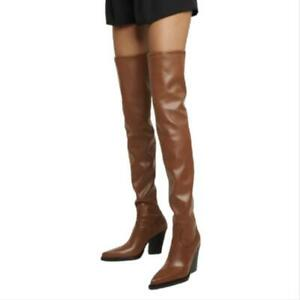 44/45/46 Women's Outdoor Pointy Toe Block Heel Over The Knee High Boots Casual L