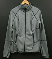 Zella Women's Gray Active Stretch Full Zip Jacket Thumbholes Size L Large