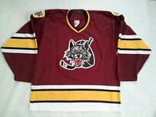 VINTAGE MADE IN CANADA BAUER CHICAGO WOLVES HOCKEY JERSEY IN SIZE M