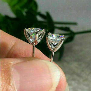 Stud Earrings For Men's & Women's Solid Silver 5.00MM Round-Cut Real Moissanite