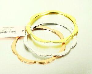 KATE SPADE Splendor Scallops Gold Rhodium Plated Clear CZ Set of Three Bracelets