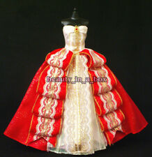 Red White Gold Strapless Holiday Gown Fashion Dress and Shoes for Barbie Doll