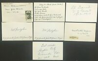 1917-1940 New York Giants Signed Index Cards (7) Hal Schumacher Fish Hooks Stout