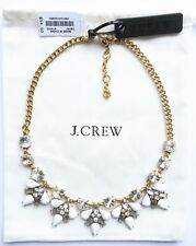 New J. Crew Factory Crystal & White Shapes Necklace dust pouch included E8040