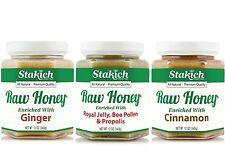 GIFT 12oz Ginger Honey, Cinnamon Honey, Royal Jelly Pollen Propolis Honey