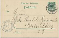 """DT.REICH """"MAINZ / 3"""" K2 5Pf Kab.-GA-Postkarte nach """"MUENCHBERG"""" (MÜNCHBERG) 1899"""