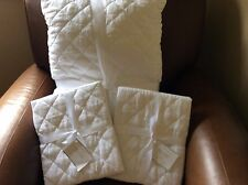 POTTERY BARN Belgian Linen Diamond Full/Queen Quilt & STANDARD Shams NEW - White