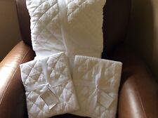 POTTERY BARN Belgian Linen Diamond Full/Queen Quilt & STANDARD Shams NEW - White