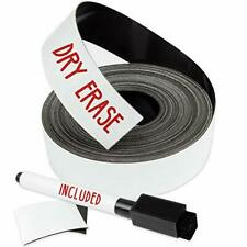 Dry Erase Magnetic Strips - 1 Inch X 25 Feet Tape Roll Blank Write on Magnets