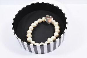 Thomas Sabo Silver Freshwater Pearl Charm Club Adjustable Bracelet + Heart Charm