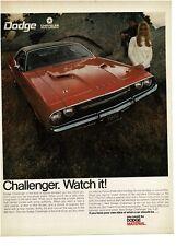 1969 Dodge CHALLENGER Orange 2-door Hardtop Landau Roof VTG PRINT AD