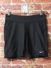NIKE Shorts sz M Athletic Gym Running Lounge Biker Knee FitDry Black Swoosh
